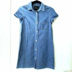 Zara Short Sleeve Denim Buttondown Shirtdress